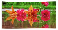 Lilies And Roses Reflection Beach Towel