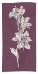 Lily Purple Flower Beach Towel
