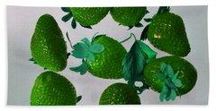 Lime Strawberries Beach Towel
