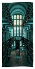 Beach Towel featuring the digital art Lincoln Castle Prison In Blue by Scott Lyons