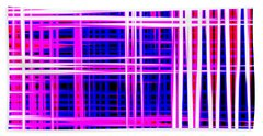 lines and squares in purple Color Waves - PL414 Beach Towel