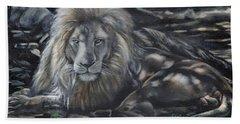 Lion In Dappled Shade Beach Sheet