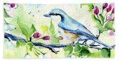 Little Blue Spring Bird Beach Towel