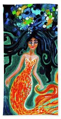 Little Mermaid In Orange Beach Towel