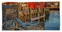 Beach Towel featuring the photograph Lobster Traps And Line At Motif #1 by Jeff Sinon