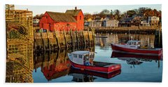 Beach Towel featuring the photograph Lobster Traps, Lobster Boats, And Motif #1 by Jeff Sinon
