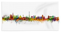 London, Paris And Rome Skylines Beach Towel