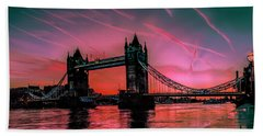 London Tower Bridge Sunrise Pano Beach Towel