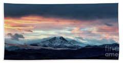 Longs Peak At Sunset Beach Towel