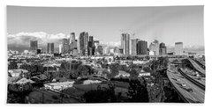 Los Angeles Skyline Looking East 2.9.19 - Black And White Beach Towel