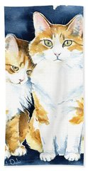 Love Me Meow Cat Painting Beach Towel