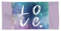 Love Watercolor In A Blue Square Beach Towel