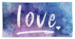 Love Watercolor In Blue Beach Towel