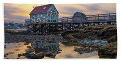 Beach Towel featuring the photograph Low Tide Reflections, Badgers Island.  by Jeff Sinon