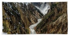 Beach Towel featuring the photograph Lower Falls In Yellowstone by Scott Read