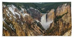 Beach Towel featuring the photograph Lower Yellowstone Falls - Horizontal by Matthew Irvin