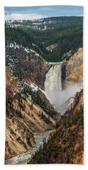 Beach Towel featuring the photograph Lower Yellowstone Falls by Matthew Irvin