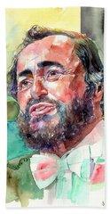 Luciano Pavarotti Portrait Beach Towel
