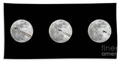 Lunar Silhouette In Sequence Beach Towel