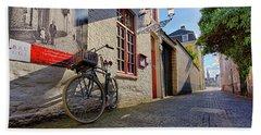 Lux Cobblestone Road Brugge Belgium Beach Towel
