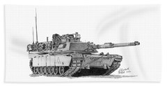 Beach Towel featuring the drawing M1a1 A Company 3rd Platoon Commander by Betsy Hackett