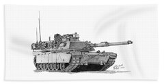 Beach Towel featuring the drawing M1a1 A Company Commander Tank by Betsy Hackett