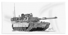 Beach Towel featuring the drawing M1a1 C Company 1st Platoon Commander by Betsy Hackett