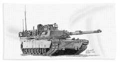 Beach Towel featuring the drawing M1a1 C Company 3rd Platoon Commander by Betsy Hackett