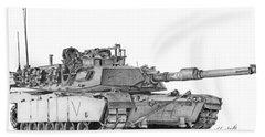 M1a1 C Company Commander Tank Beach Towel