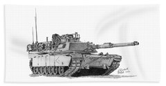 Beach Towel featuring the drawing M1a1 D Company 1st Platoon Commander by Betsy Hackett