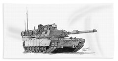 Beach Towel featuring the drawing M1a1 D Company Commander Tank by Betsy Hackett