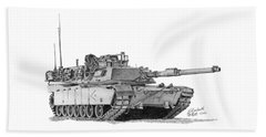 Beach Towel featuring the drawing M1a1 D Company Xo Tank by Betsy Hackett