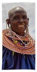 Maasai Woman In Tanzania Beach Towel