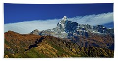 Machapuchare Mountain Fishtail In Himalayas Range Nepal Beach Towel