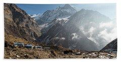 Machhapuchhare Base Camp In Nepal Beach Towel