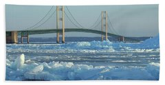 Mackinac Bridge In Ice 2161801 Beach Sheet