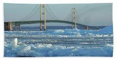 Mackinac Bridge In Ice 2161801 Beach Sheet