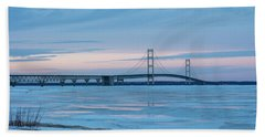 Mackinac Bridge In Ice 2161803 Beach Sheet