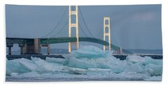 Mackinac Bridge In Ice 2161809 Beach Sheet