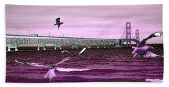 Mackinac Bridge Seagulls Beach Towel