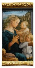 Madonna And Child Lippi The Uffizi Gallery Florence Italy Beach Sheet