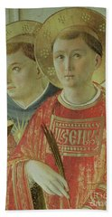 Madonna Of The Shadow, Detail Of St Thomas Aquinas And St Lawrence Beach Towel