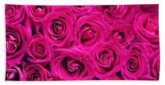 Magenta Roses Beach Towel