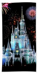 Magic Kingdom Castle In Frosty Light Blue With Fireworks 06 Beach Towel
