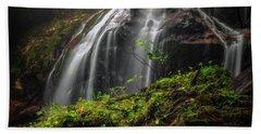 Magical Mystical Mossy Waterfall Beach Towel