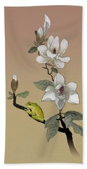 Magnolia And Tree Frog Beach Towel