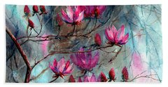 Magnolia At Midnight Beach Towel