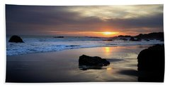 Beach Towel featuring the photograph Malibu Sunset by John Rodrigues