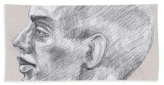Man Head Study Profile  Beach Towel