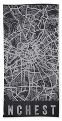 Manchester England Street Map - Charcoal Beach Towel